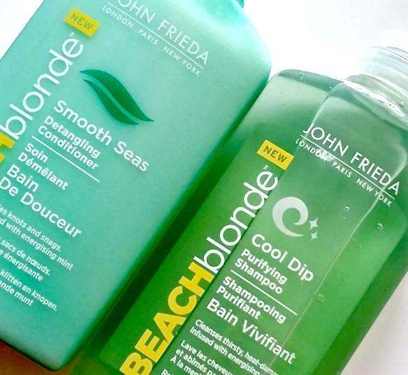 John Frieda Beach Blonde Smooth Seas Detangling Conditioner Cool Dip Purifying Shampoo 1