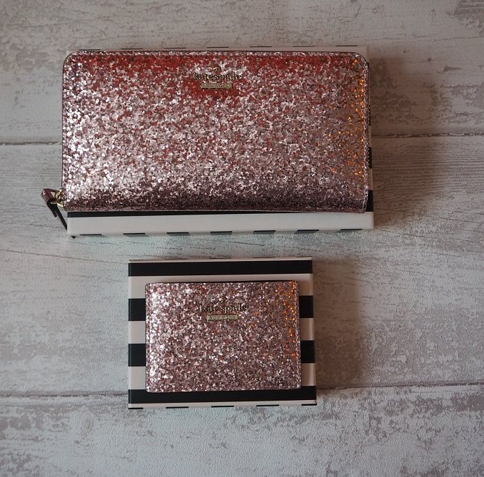 Kate Spade Rose Gold Lacey Walley Glitter Bug Card Holder