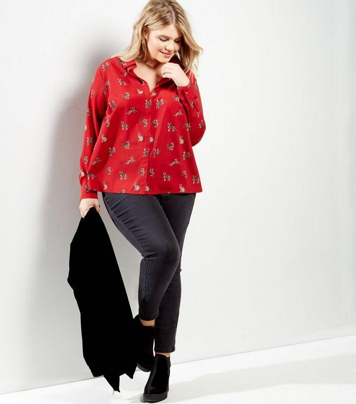 New Look Curves Red Cat Print Shirt